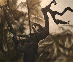 Misty Alpha Male, 2011, oil on canvas with rabbit glue, 140 x 120