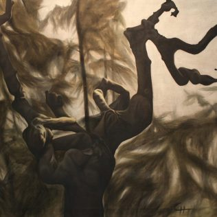 Misty Alpha Male, 2011, oil on canvas with rabbit glue, 160 x 135
