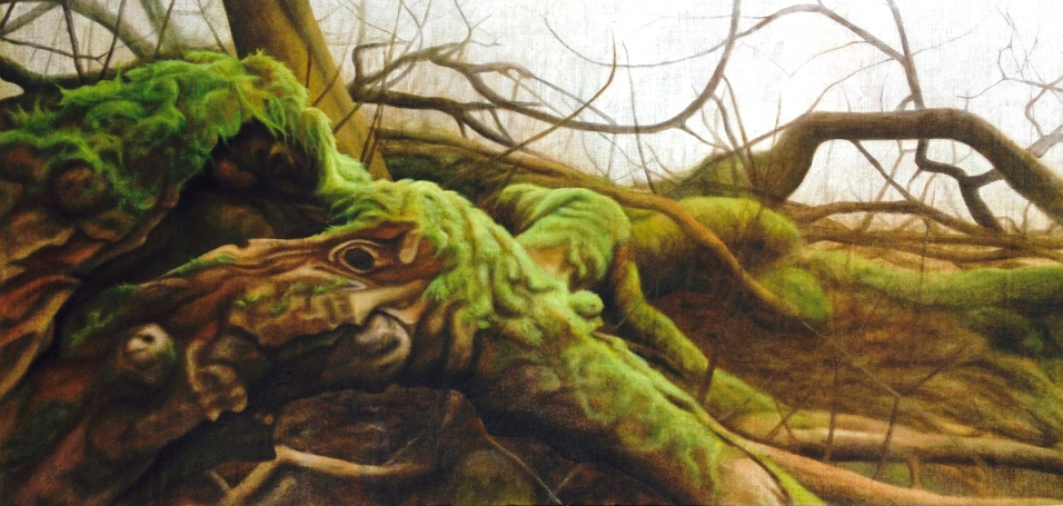 Moist wood, 2015, oil on canvas with rabbit glue, 120 x 80