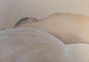 Shoulder, 2018, oil pastel and pencil on paper, 42 x 30 cm.