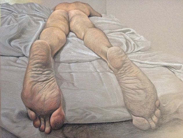 Feet, 2018, oil pastel and pencil on paper, 65 x 50 cm.