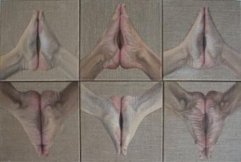 Praying feet, 2016, oil on canvas with rabbit glue, 90 x 60