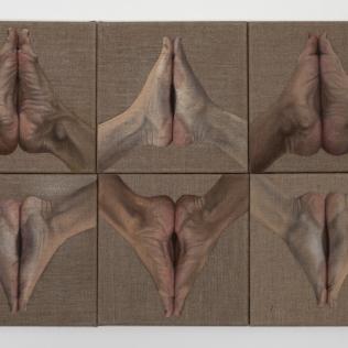 Feet x 6, 2016, oil on canvas with rabbit glue, 90 x 60